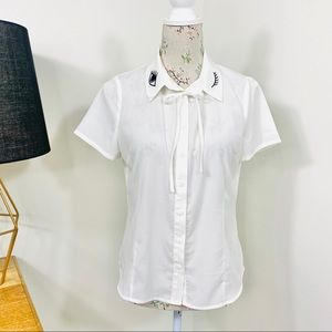 Revival White Shirt Pussy Bow Short Sleeve Size 10